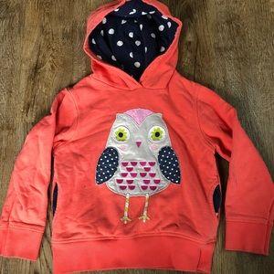Mini Boden 5-6 owl hooded sweatshirt